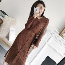 Women Knitted Sweaters Dresses Elegant  High Waist   Plus Size  Korean Fashion Sweater Dress