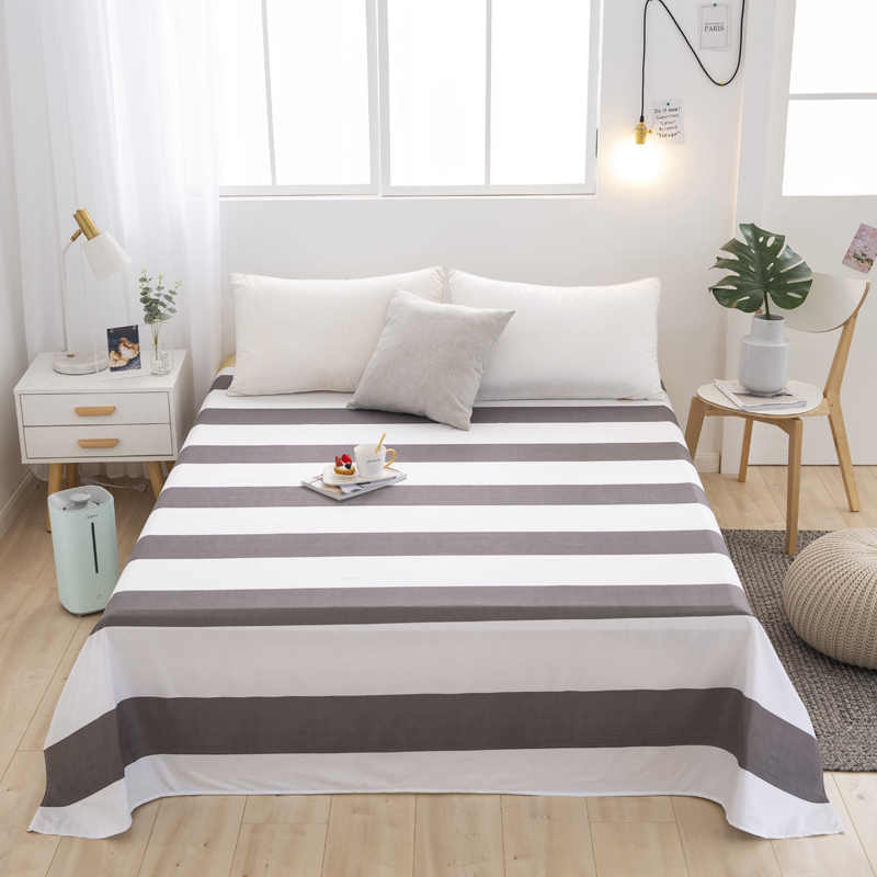 Plaid Star Stripe printing One Pc Flat Sheet Bed Linen Mattress Covers Bedsheet Full Queen Twin King 5 Size