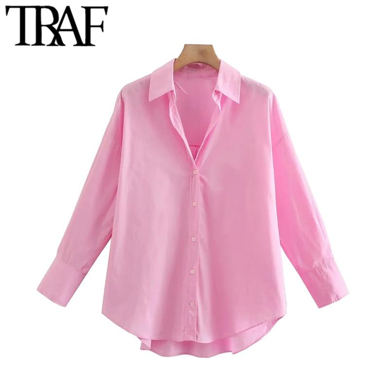 TRAF Women Fashion Loose Asymmetry Poplin Blouses Vintage Long Sleeve Button-up Female Shirts Blusas Chic Tops 2