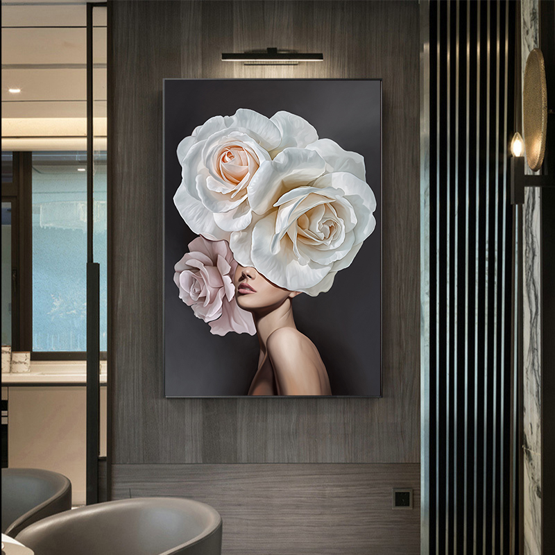 Pink Flowers Woman Abstract Fecorative Painting Poster Wall Art Living Room Decoration(China)