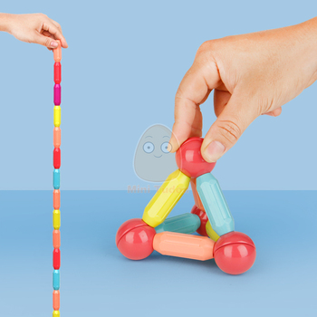 Kids Magnetic Constructor Block Designer Set Magnet Stick Rod Building Blocks Montessori Educational Toys For Children Boy Girl 4