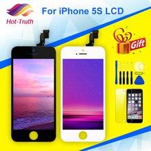 ل فون 5s عرض LCD تعمل باللمس محول الأرقام الجمعية A1453 A1457 A1518 A1528 A1530 A1533 لا الميت بكسل أسود أبيض