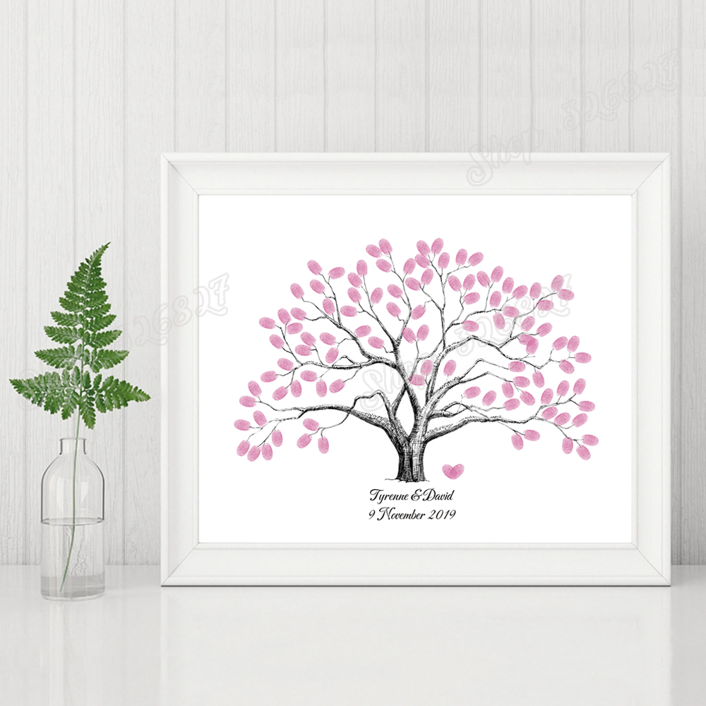 Personalized Wedding Tree Fingerprint Signature Guest Book Canvas Poster For Birthday Baby Shower First Communion Party Souvenir