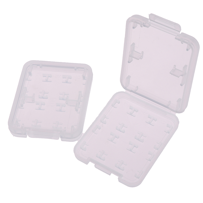 2pcs 8 In 1 Transparent Hard Micro SD SDHC TF MS Memory Card Storage Box Protector Holder Hard Case Memory Card Storage Box