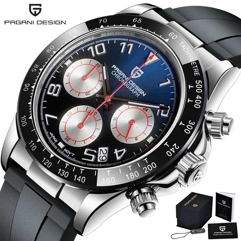 2021 Новый PAGANI DESIGN Для мужчин s часы Для мужчин лучший бренд Автоматическая Дата наручные часы Силикагель Водонепроницаемый 100 м хронограф час...