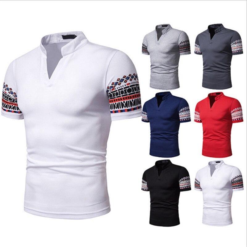 2019 summer new senior men's   polo   shirt men's short-sleeved casual fashion   polo   shirt men's solid color lapel   polo   shirt