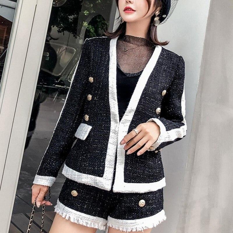 Fashion Panelled Womens Slim Fit 2Pcs Woolen Outfits Long Sleeve V-Neck Hidden Button Short Coats Tassel High Waist Hot Shorts