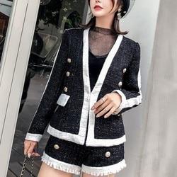 Moda Panelled Womens ajuste Delgado 2 uds. Trajes de lana manga larga cuello en V botón oculto abrigos cortos borla alta cintura caliente pantalones cortos