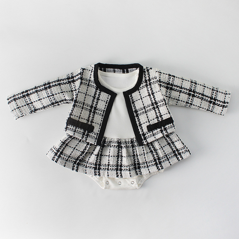 H9cc71e435d874189bb1b219cec61db4dT Fashion Baby Rompers for Girls Plaid Infant Jumpsuit Baby Girl Romper with Coat Baby Onesie Toddler Clothes Baby Costume