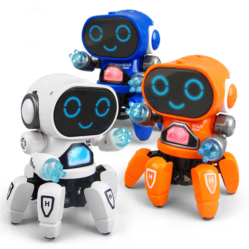 Dancing Electric Six-claw Small 6 Robot With Lights Music Robot Children's Educational Toys Christmas Birthday Gift