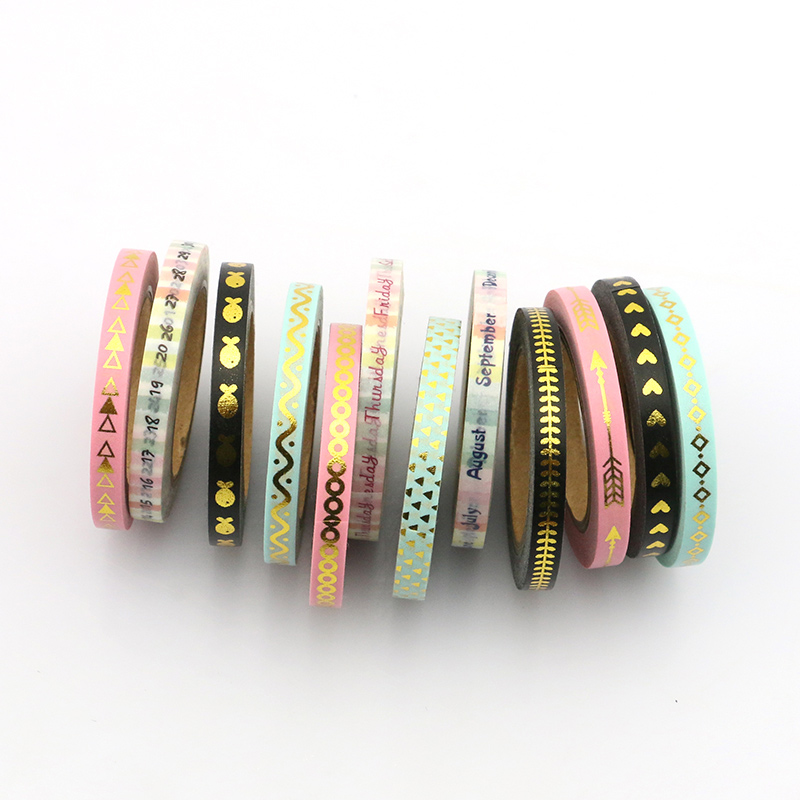 New 3pcs/set  Slim Washi Tape 5mm*10m Split Line Masking Foil Tapes Decoration Stickers Stationery School Supplies