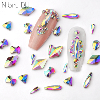 100pcs/pack Wholesale Nail Art Rhinestones Flat Crystal AB Shaped Teardrop Rectangle Glass Stons For 3D Nails Decoration 1
