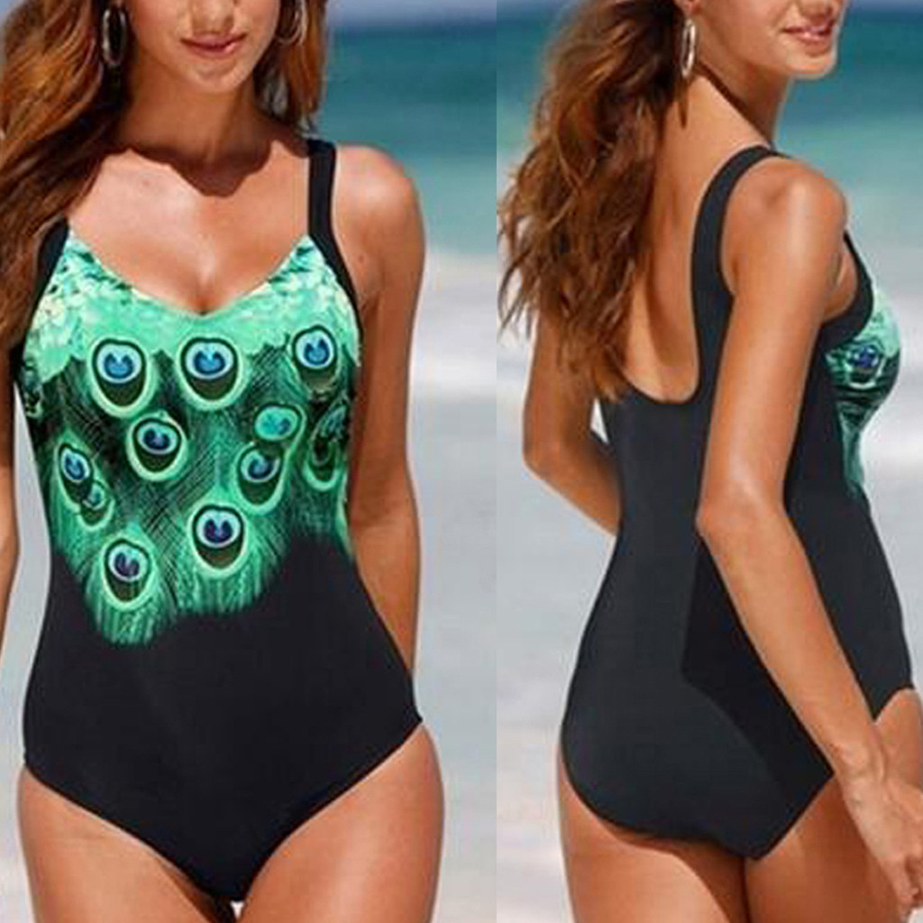 Bikini 2020 Sexy Women Plus Size Peacock Print Swimwear Women Monokini Push Up Bodysuit Lady Swimsuit One-Piece Suits 5XL Hot