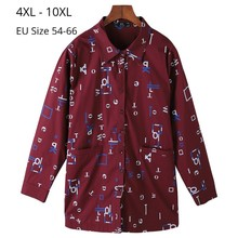 Plus Size 10XL 9XL 8XL Women Spring Autumn Long Sleeve Blouse Femme Letter Print Cotton Blouses And Tops Female Slim Clothing цена 2017