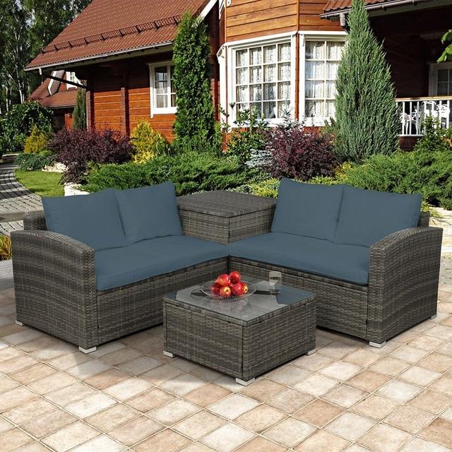 4 PCS Outdoor Cushioned PE Rattan Wicker Sectional Sofa Set 5