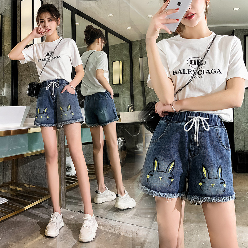 Embroidered Tightly Waisted Women Summer Cotton Denim Shorts 2019 Loose Large Type Casual Female Waist Rabbit Embroidered Jeans
