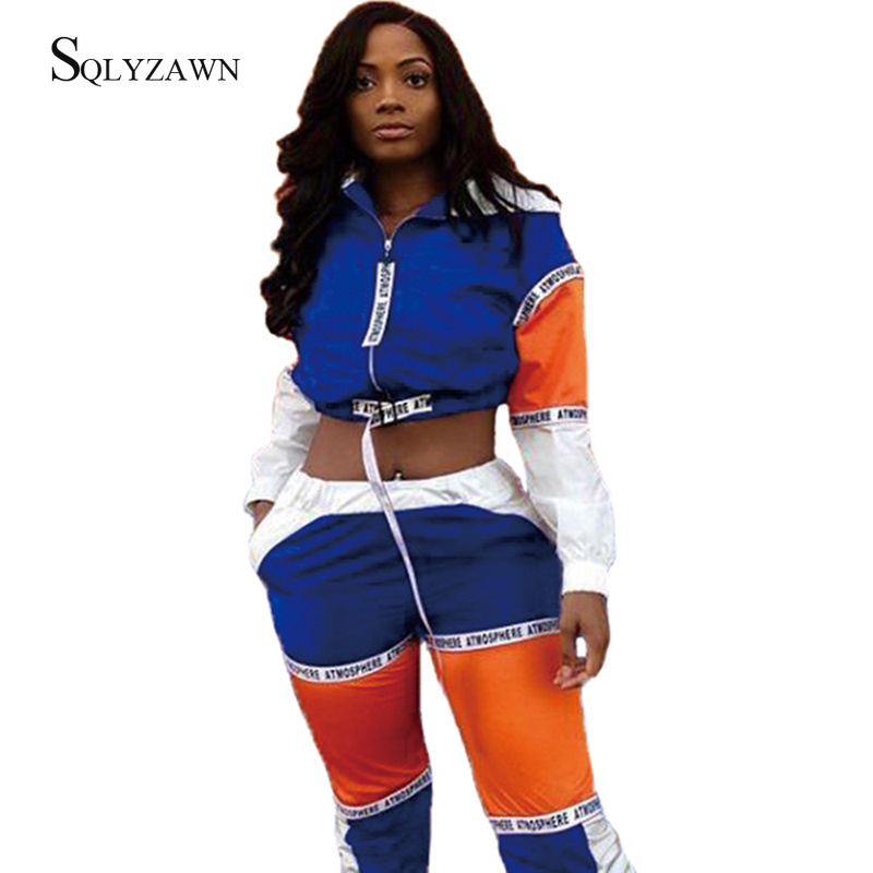 Streetwear Colorblock Patchwork Bandage Sportswear Two Piece Tracksuit Set Women Autumn Hooded Jacket Crop Top Jogger Pants Suit