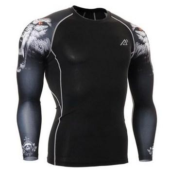 Koszulka kompresyjna z długim rękawem męska koszulka rowerowa Fitness oddychająca sportowa koszulka z długim rękawem Rashgard odzież sportowa tanie i dobre opinie Life on track spandex Zwierząt Oddychające Pełna Pasuje mniejszy niż zwykle proszę sprawdzić ten sklep jest dobór informacji