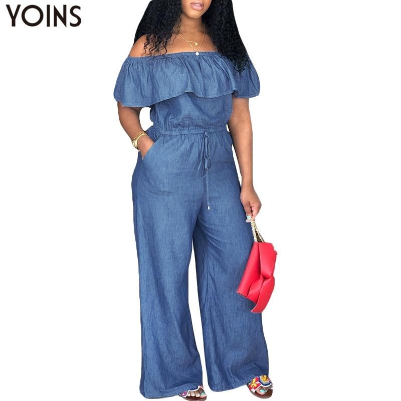 YOINS Denim Rompers Womens Jumpsuit 2019 Summer Sexy Slash Neck Off Shoulder Ruffles Playsuits Plus Size Wide Leg Pants Overalls