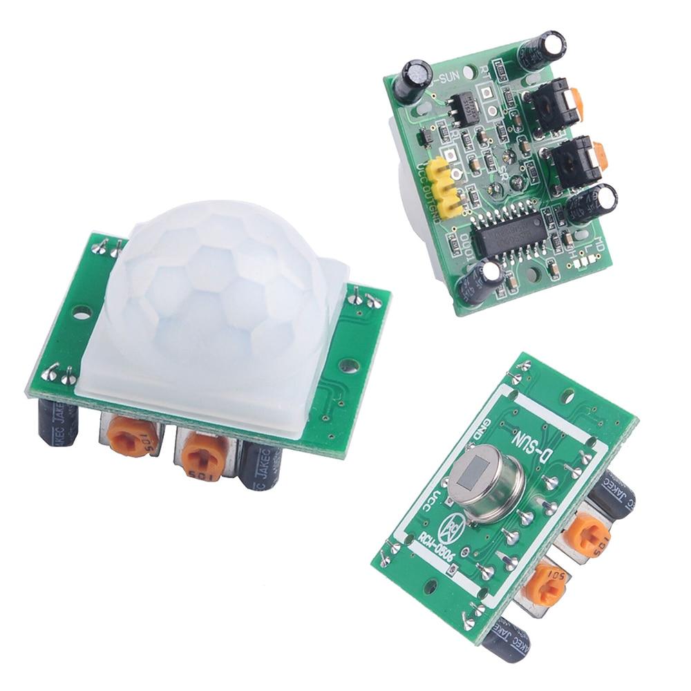 5PCS HC-SR501Adjust IR Pyroelectric Infrared Mini PIR Module Motion Sensor Detector Module Bracket For Arduino