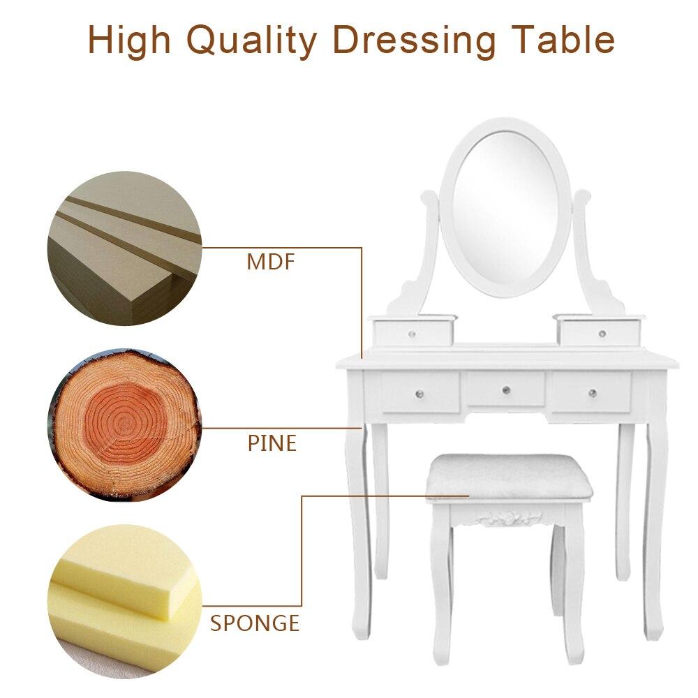 Туалетный столик для макияжа с 5 ящиками зеркальные лампы туалетный столик не с освещенным зеркалом мягкий стул туалетный столик - 4