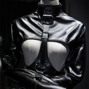 Image 2 - Fetish Female Open Breast Cupless Leather Bdsm Bondage Strait Jacket Top Womens Restraint Straight Costumes Sex master