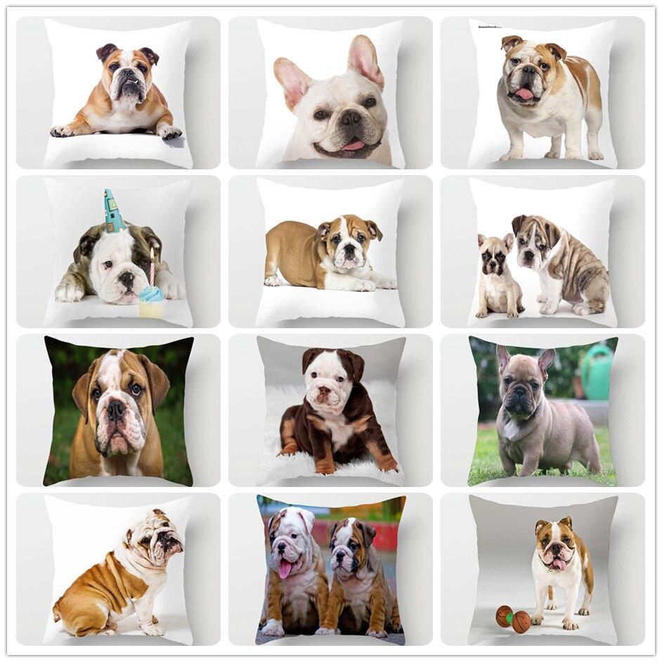 ZENGIA English Bulldog Cushion Cover 45x45cm Polyester French Dog Pillow Case Franse Bulldog Decoration Decorative Pillows Dog