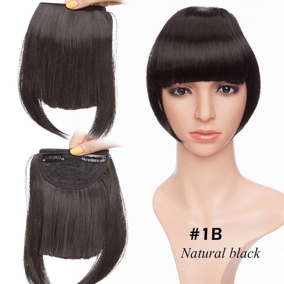 SNOILITE короткие передние тупые челки Клип короткая челка волосы для наращивания прямые синтетические настоящие натуральные накладные волосы - Цвет: natural black