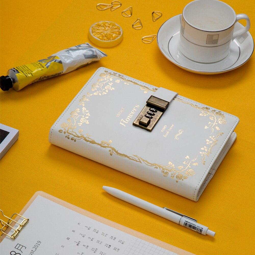 Vintage Notebook With Lock B6 Diary Bullet Journal DIY Agenda Planner Organizer Line Blank Note Book Business Travel Handbook