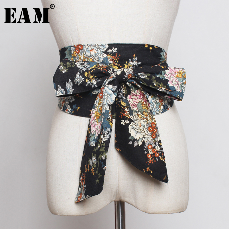[EAM]  Multicolor Pattern Print Wide Vintage Bow Belt Personality Women New Fashion Tide All-match Spring Autumn 2020 1A251