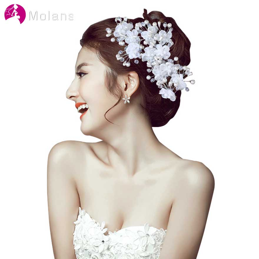 MOLANS 2 PC/Set Pearl Water Drill Hairpins For Bride Hair Accessories Handmade Floral Gold Leaf Alloy Barrettes For Wedding