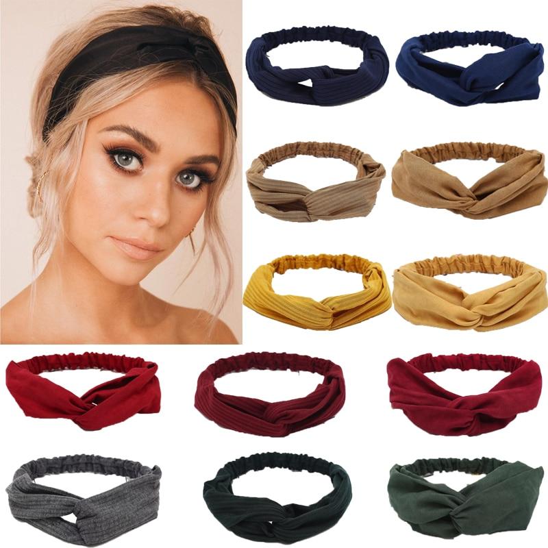 2019 Women Solid Headband Turban Elastic Headwear Head Wrap Women Hair Accessories for Women Striped Hair Bands(China)
