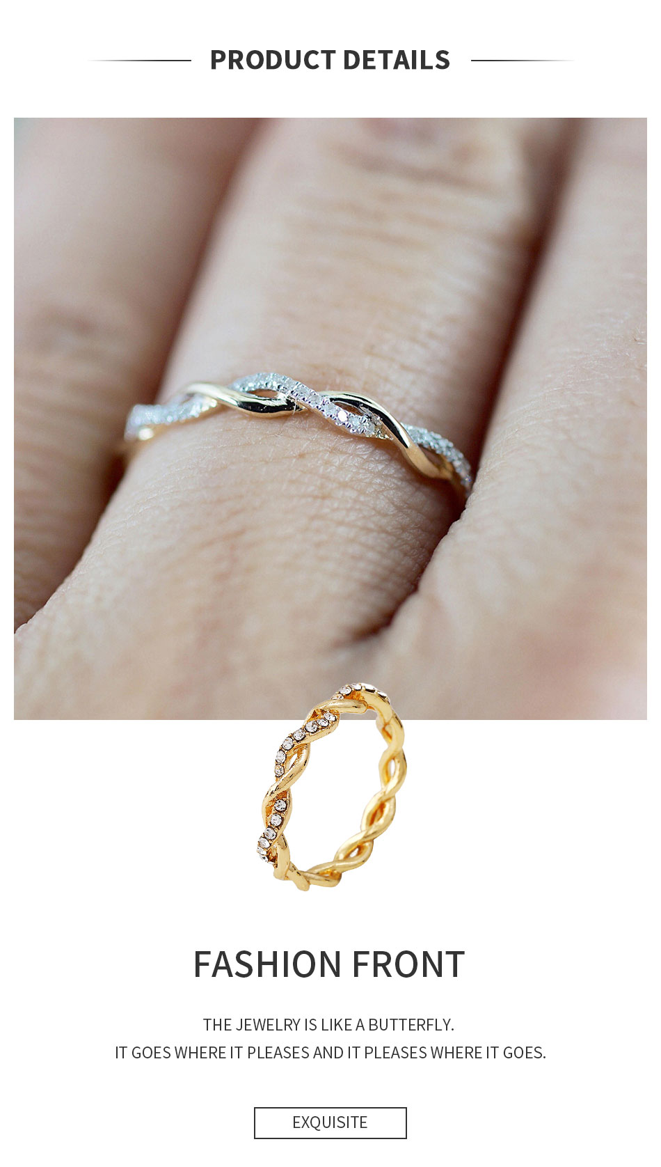 Round Rings for Women Thin Rose Gold Color Twist Rope Stacking Engagement Wedding Rings,10,Rose Gold Color