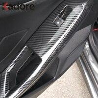 For Ford Focus 2019 2020 Carbon Fiber Car Interior Door Armrest Panel Window Lift Button Cover Trim Interior Accessories