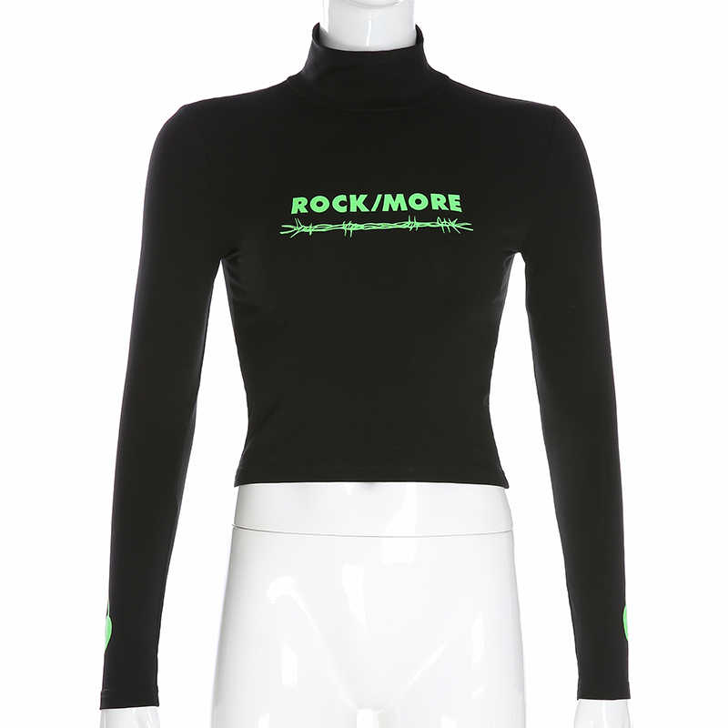 Darlingaga уличная панк водолазка футболка Женские топы футболки неоновый зеленый с буквенным принтом Осенняя футболка облегающая одежда с длинным рукавом
