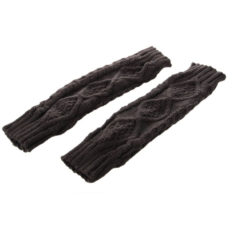 Womens Cashmere Protection Knitted Wool Long Fingerless Arm Warmers Gloves Gray