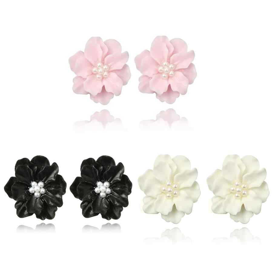 3 Colors New Cool Fashion 2.5cm White Flower Stud Earring for Women Imitation pearls Florals Charm Earrings Jewelry Gift Brincos