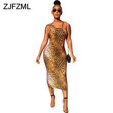 все цены на Sexy Spaghetti Strap Leopard Bandage Dress Women Cross Backless Skinny Sexy Club Dresses Summer High Waist Plus Size Maxi Dress онлайн