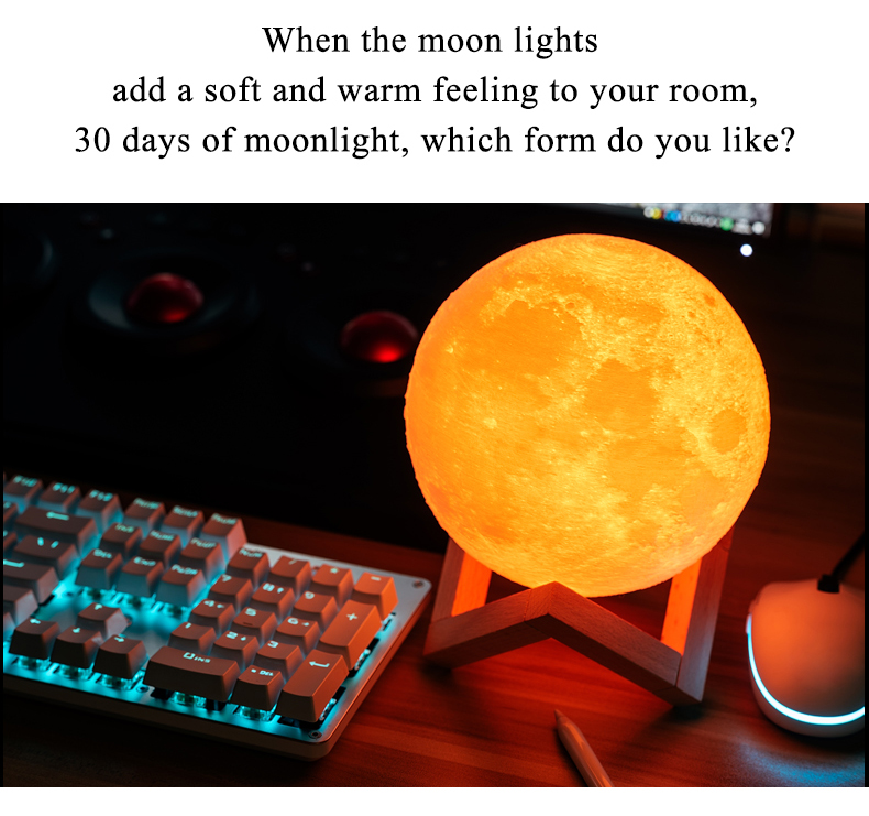 3D Print Moon Lamp for Creative Home Decor with Changing Color 12
