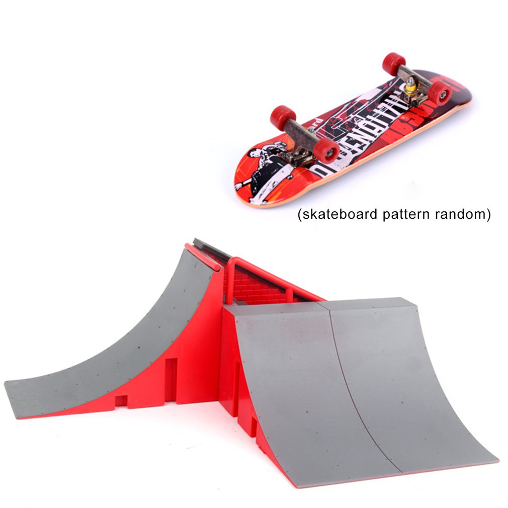 1set Skate Park Ramp Parts  Fingerboard Ramps Mini Desktop Toys Flexibility Finger Skateboard For Children Great Gift Puzzle Toy