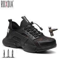 Tampão do dedo do pé de aço homens sapatos de segurança de pouco peso confortável trabalho tênis botas masculinas respirável sapato ao ar livre roxdia marca rxm166|Botas de segurança e trabalho| |  -