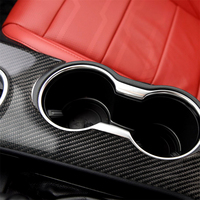 Carbon Fiber Interior Decoration Gear Panel Water Cup Frame Cover Trim for Ford Mustang Car Decal Stickers Accessories LHD