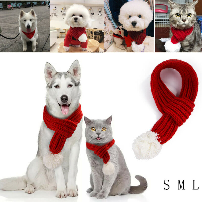 Pet Christmas Scarf Dog Scarf Neck Scarf Dogs Pet Christmas Gift Christmas Decoration Supplies Christmas Party Winter Clothes
