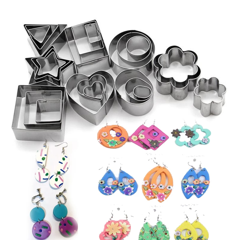 24 Pcs polymer clay jewelry tools set Geometric Flower/heart/square/circle/hexagon/star shape Cutting Mold diy pottery cutters|Pottery & Ceramics Tools|   -