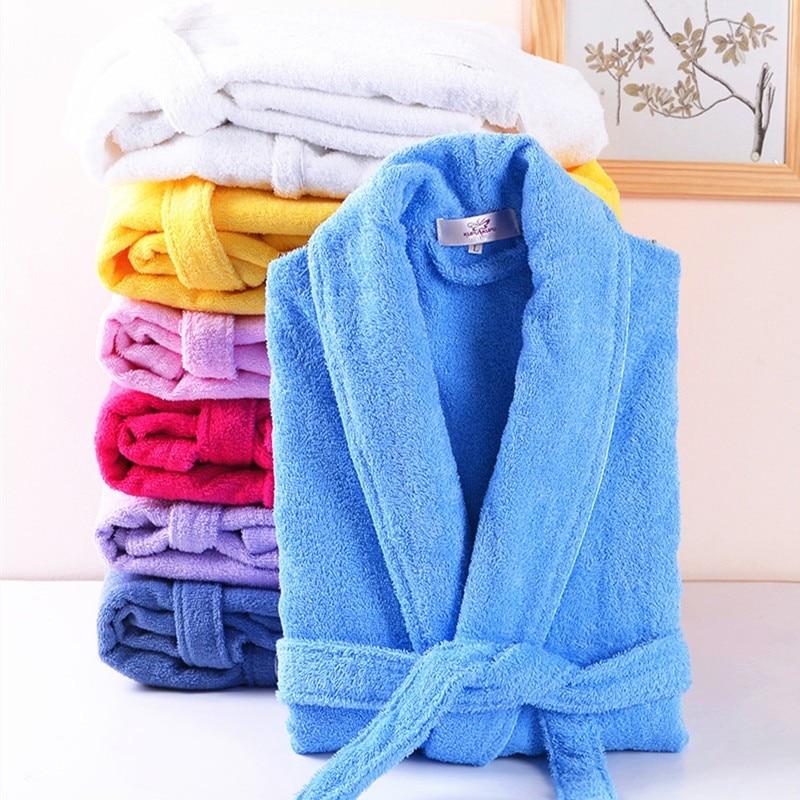 Lovers 100% Cotton Terry Bathrobe Men Women Solid Towel Sleepwear Long Bath Robe Kimono Femme Dressing Gown Bridesmaid Robes