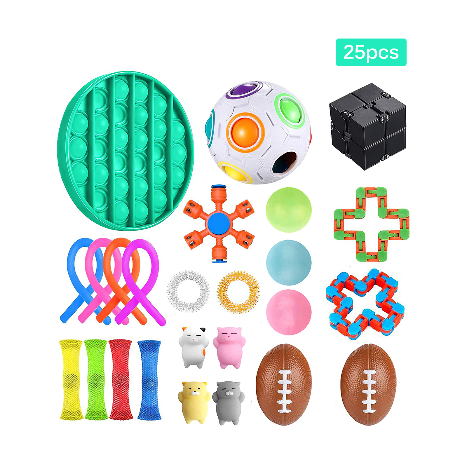 25Pcs/Pack Fidget Sensory Toy Set Stress Relief Toys Autism Anxiety Relief Stress Pop