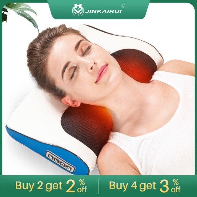 Jinkairui Massage Pillow Shiatsu Heating Shoulder Back Body Multi Function Device Cervical Healthy for Home and Car