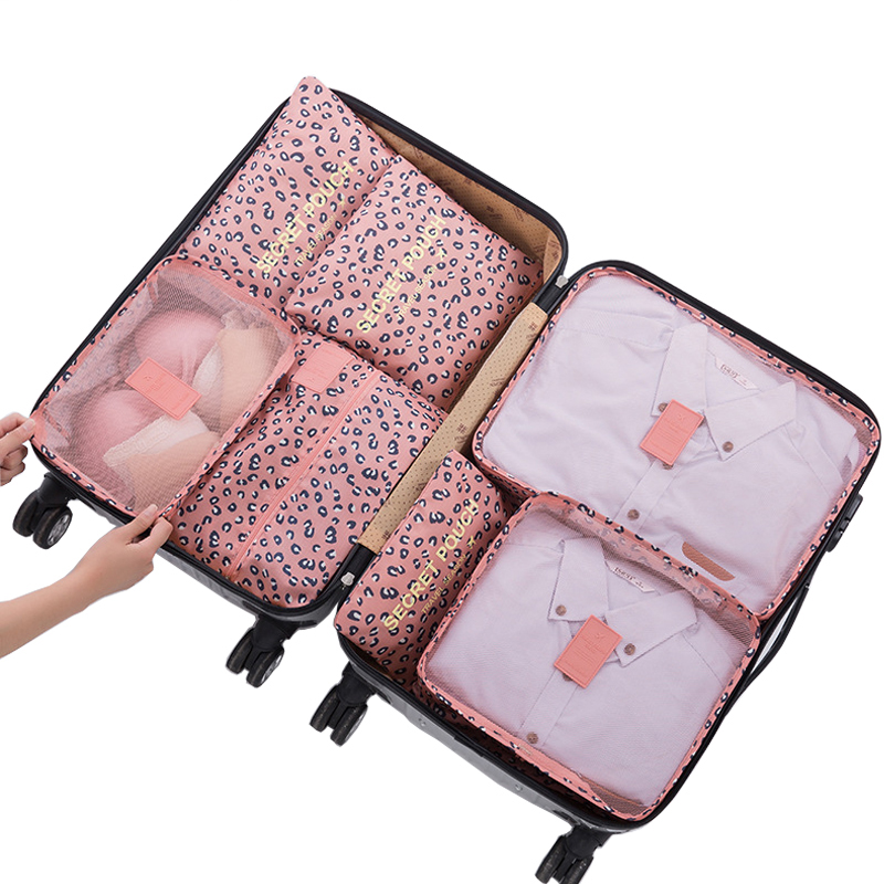 Fashion 7Pcs/set Travel Organizer Suitcase Clothes Finishing Kit Portable Partition Pouch Storage Bags Home Travel Accessories