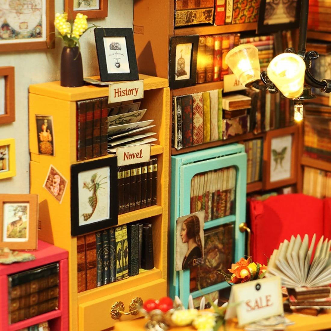 Robotime DIY ручной работы кукольный домик для учебы в западном стиле книжный магазин ручной сборки с светодиодный стебель игрушки для домашнего...