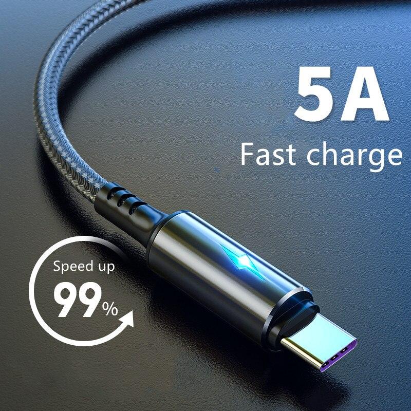 Cabo indicador led 3a carregamento rápido para huawei companheiro 40 samsung xiaomi android telefone móvel micro usb tipo c cabo de fio 2m